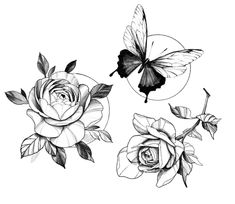 Dope Tattoos, Black Tattoos, Girl Tattoos, Flower Tattoo Designs, Flower Tattoos, Butterfly With Flowers Tattoo, Flower Drawing Tutorials, Flower Sleeve, Oeuvre D'art