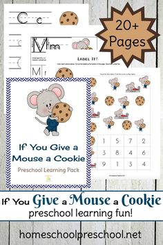 Introduce preschoolers to cause and effect in the hilarious book, If You Give a Mouse a Cookie! This 20+ page learning pack is the perfect go-along! | homeschoolpreschool.net