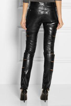 Saint Laurent|Slit-detailed leather pants|NET-A-PORTER.COM