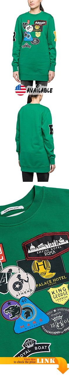 Replay Women's Women's Light Emerald Green Long Sweatshirt in Size M Green. Long sweatshirt with patches. Composition: 100% Cotton. Color: Light emerald green. Round neckline, long sleeves. Collection: Fall #Apparel #APPAREL