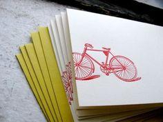 Notecards with letterpress bike design (set/5) $10