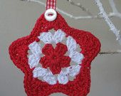 Red and White Crocheted Christmas  Holiday Star Decorations