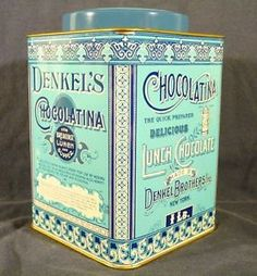 vintage tin Blue Words, Tin Cans, Vintage Tins, Cubicle, Decorative Boxes, Packaging, Canning, Toys, Antiques