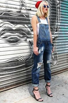 Classic denim overalls with distressing and rips down the front. Button closures on one side. Traditional overall straps with button hook fastening. Rolled up ankles can Denim Overalls Outfit, Jumpsuit Outfit, Bib Overalls, Casual Jumpsuit, Denim Jumpsuit, Dungarees, Pink Jumpsuit, Smart Outfit, Jumper