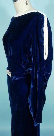 1930's OPENHYM's DEBUVEL Transparent Velvet Blue Velvet Gown with White Bead Trim and Open Sleeves