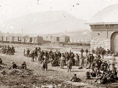 Chattanooga, Tennessee. Confederate prisoners at railroad depot. It was made in 1864.