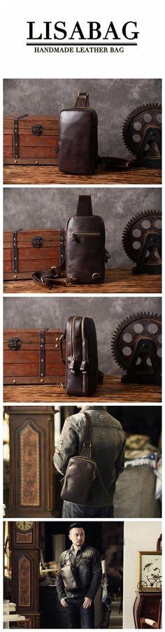 Handmade Full Grain Leather Messenger Bag Outdoor Chest Bag Men's Fashion Leather Bag MT43 Shoulder Backpack, Backpack Purse, Leather Shoulder Bag, Coin Purse, Crossbody Bag, Leather Bags, Leather Craft, Leather Purses, Designer Bags
