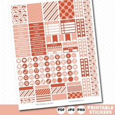 FREE rustic orange and coral printable planner stickers, STI-560