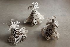 crocheted lace pine cone angels choir - set of three / woodland - rustic - farmhouse - christmas -modern home decoration. $70.00, via Etsy.