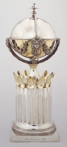 Sugar Bowl and Spoons  1804  Bendix Gijsen, Danish. Silver, partly gilt.