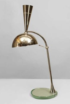 Anonymous; Brass and Glass Table Lamp, 1960s.