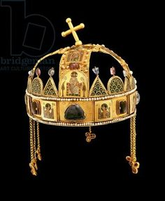 The Holy Crown of Hungary, 11th-12th century (gold with enamel, pearls & semi-precious stones) Title: Byzantine Primary creator: Hungarian National Museum, Budapest, Hungary Location: gold with enamel, pearls and semi-precious stones Medium: also know as the Crown of St. Stephen; consists of 2 pieces, the lower part (corona Graeca) from the 1070s and the upper (corona latina) which was added in c.1200; original crown sent to the king by Pope Sylvester II in 1000 for his coronation;