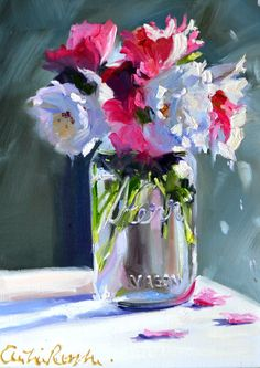 Still life paintingKER MASON JAR white and pink by CECILIAROSSLEE