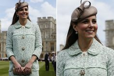 Pregnant Kate Middleton hides her bump under mint green Mulberry coat dress at Windsor Castle Queens Scouts Parade - Mirror Online
