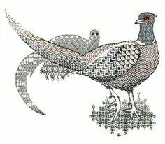 Blackwork Pheasants Embroidery, Counted Thread Using Metallic Threads and Blackwork Designs