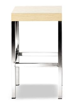 """Cube Natural Counter Stool""  Lightweight, simple and comfortable thanks to the small dimensions and attractive design it is ideal for small spaces. With the square steel tube frame it is available in satinized steel or chrome finish.  Please contact us for pricing (718)363-3097."