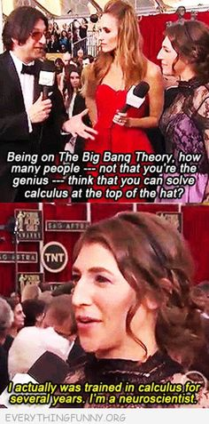 <3 Mayim Bialik has a PhD in neuroscience, just like her character on The Big Bang Theory, Dr. Amy Farrah Fowler! #breakingstereotypes...This cracks me up.