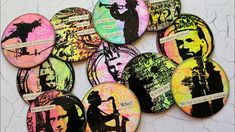 Gel Print Artist Trading Coins and Homemade Clippings Stickers Diy Stamps, Neon Painting, Gelli Plate Printing, Gelli Arts, Atc Cards, Plate Art, Artist Trading Cards, Altered Art, Altered Books