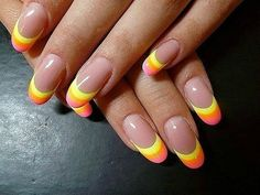 Modify this and you get Candy corn nails!