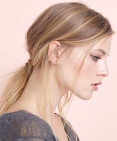Gold-plated stone earrings - OYSHO