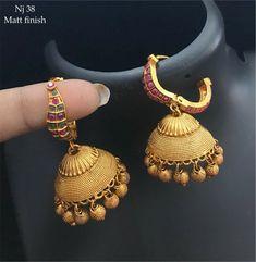 Order what's app 7995736811 Order what's app 7995736811 Gold Jhumka Earrings, Jewelry Design Earrings, Gold Earrings Designs, Gold Jewellery Design, Gold Temple Jewellery, Gold Jewelry, Quartz Jewelry, Antique Jewellery Designs, Jewelry Patterns
