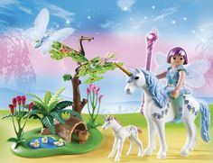 Amazon.com: PLAYMOBIL Fairy Aquarella in the Unicorn Meadow Playset: Toys & Games