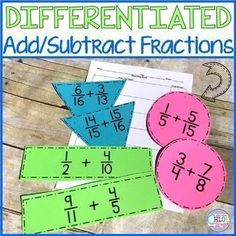 "Set of differentiated fraction task cards to allow students to practice adding and subtracting fractions with unlike denominators. These are called ""task cards"" but can easily be used in small groups, as partner work, around the room, etc. Teaching 5th Grade, 5th Grade Math, Teaching Reading, Teaching Math, Teaching Resources, Teaching Ideas, Guided Reading, Elementary Science Classroom, Upper Elementary"