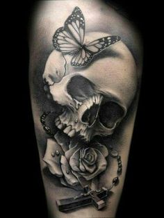 Skull tattoo with butterfly rose n rosary