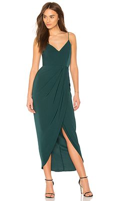 Cocktail Draped Dress in Seaweed