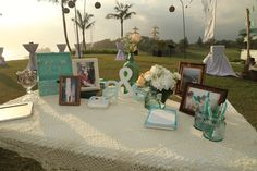 Guest Registration Table Mint Green Detail Crochet Overlay Jars Www
