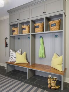 Traditional Mud Room with High ceiling, Carpet, Paintable White Beadboard, Natural Hyacinth Braided Cameron Tote Baskets