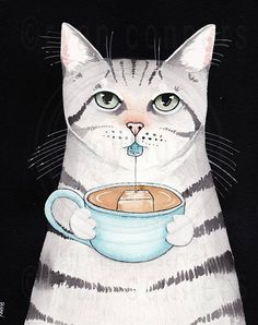 "Cat With a Cuppa Tea Original Silver Tabby Cat Folk Art ""Cuppa Tea Kitty"" An original illustration and watercolor painting. Painted on Arches Watercolour, cold pressed, 300g/m2 140lb, 100% pure cotton, acid-free paper. Size 9"" x 12"" - sprayed with a matte varnish."