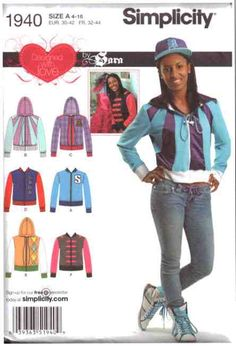 Simplicity Sewing Pattern 1940 Misses' Jacket with trim variations Size: A 4-16 Uncut