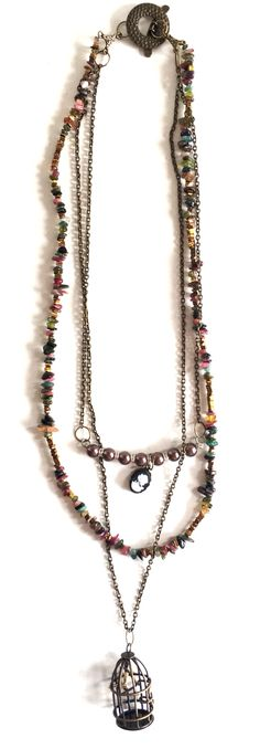 Glass bead necklace, handmade, wiring, DIY necklace, Swarovski elements , bohemian layered necklace, seed beads