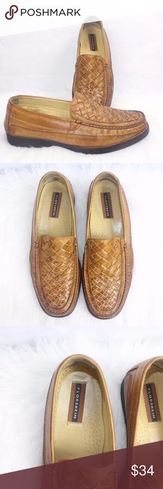FLORSHEIM Mens Marshall Light Brown Woven Basket W FLORSHEIM Mens Marshall Light Brown Woven Basket Weave Leather AMAZONAS Sz 10 Made in Brazil  Widest Part Of Sole 4 Inches Right Side of Heel shows Rubbing of Leather  Thick Soles Rubber 18126 Florsheim Shoes Loafers & Slip-Ons