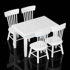 White 5pcs Dining Room Table Chair Set for 1:12 Dollhouse Miniature Furniture #Unbranded