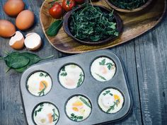 Mini bite-sized cups with eggs, spinach and cheddar cheese. So try this one out for breakfast and you can have a whole omelette inside one delicious muffin.
