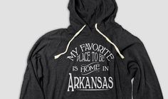 Arkansas Home Hooded Tee with Pockets, My Favorite Place To Be Is Home In Arkansas