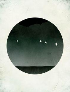 SALE Black and White Art Print, Minimalist Poster, Japanese Print, Abstract Landscape, Bird Art. $18,00, via Etsy.