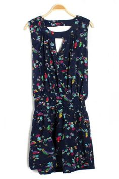 Floral Print Sleeveless Rompers OASAP.com