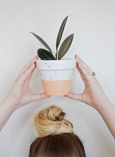 FAUX GLAZED CERAMIC POT DIY // PAINTING TERRACOTTA // From Gold Blog