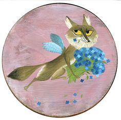 coyote cherub #2 Brigette Barrager Cherub, Pencil, Kids Rugs, Plates, Watercolor, Ink, Prints, Tableware, Illustration