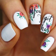 White nails are very often considered to be not fun. Why would someone choose a nail polish color basically without any color? White nail color is a definition of elegance and class.Find some nail inspiration from the collection we have put together. Flower Nail Designs, White Nail Designs, Nail Designs Spring, Beautiful Nail Designs, Nail Art Designs, Floral Nail Art, White Nail Art, White Nails, White Polish
