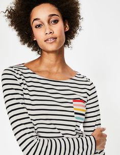 Long Sleeve Breton Sleeved Tops at Boden Sewing Pockets, Daily Fashion, Cute Outfits, Style Inspiration, Daily Style, Shopping Spree, Stylish, Long Sleeve, Clogs