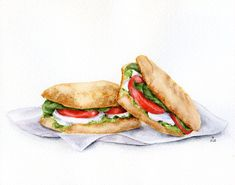 Tomato and mozzarella panini - ORIGINAL Painting (Still Life, Kitchen Wall Art, Watercolour Food Illustration) 8x10