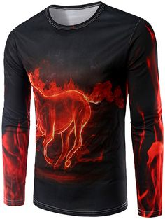 $14.96 Fire Horse 3D Print Long Sleeve T-Shirt