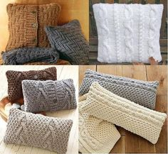 Вязанные наволочки для подушки