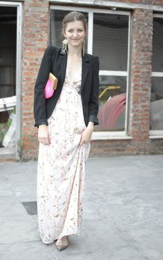 wedding guest- love the blazer over a maxi will need to try this