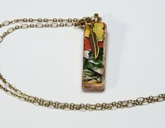 Great Christmas Gift! Tuscany Landsape On a Ceramic Tile Necklace, And a Feather Charm by bonnieline on Etsy