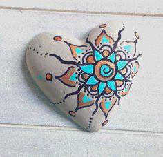Deko-Objekte - Herz aus Beton, handbemalt, Beton Deko, Mandala - ein Designerstück von KIMAMA-design-Andrea-Abraham bei DaWanda